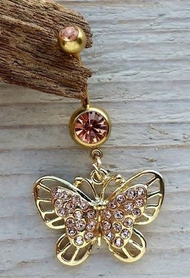 navelpiercing vlinder goudkleur-champagne