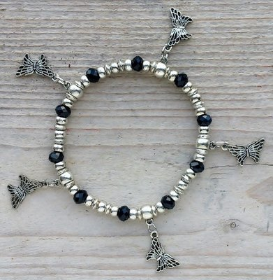 armband vlindertjes zwart