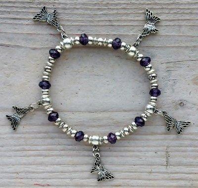 armband vlindertjes paars