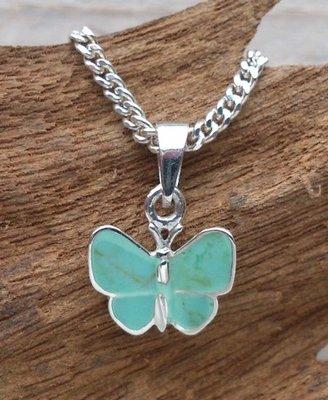hanger vlinder zilver mintgroen 10 x 13 mm