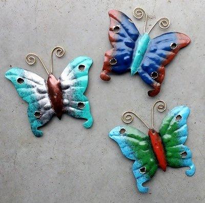 magneet vlinders metaal (set 3 stuks)