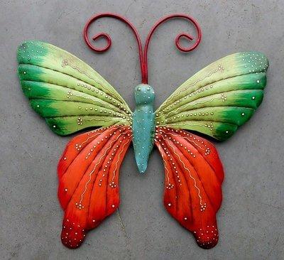 wanddeco vlinder metaal 'color' 25 cm