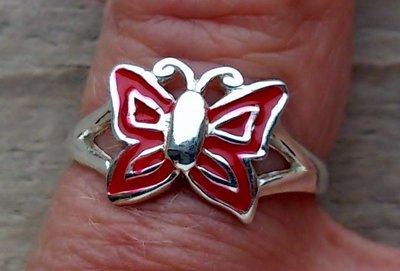 kinderring vlinder zilver rood