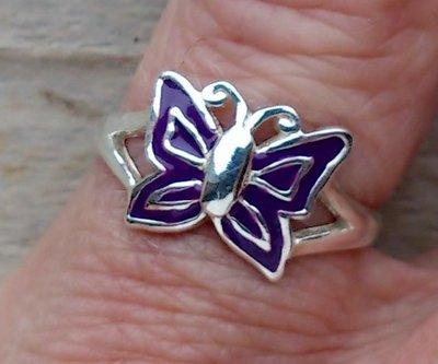 kinderring vlinder zilver paars