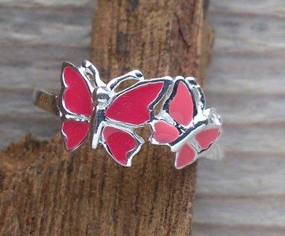 kinderring vlinder zilver hard-roze