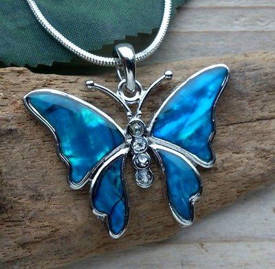 ketting hanger vlinder paua blauw