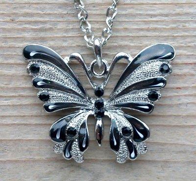 ketting vlinder hanger zwart