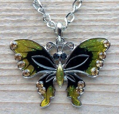 ketting vlinder hanger geel-zwart