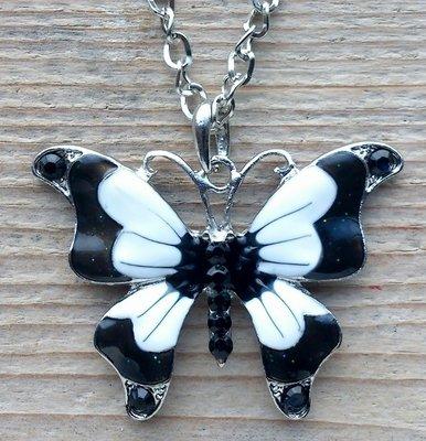 ketting vlinder hanger zwart-wit