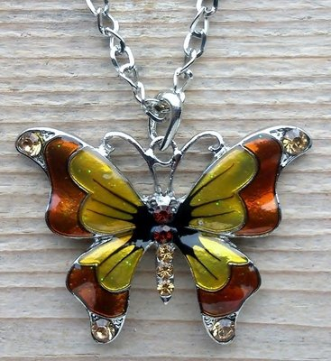 ketting vlinder hanger bruin