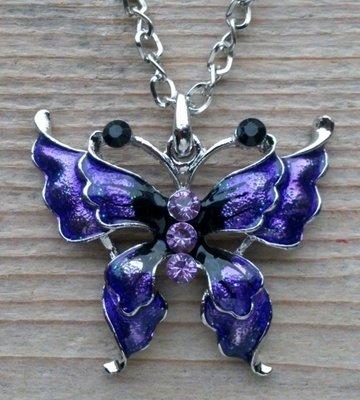ketting vlinder hanger paars