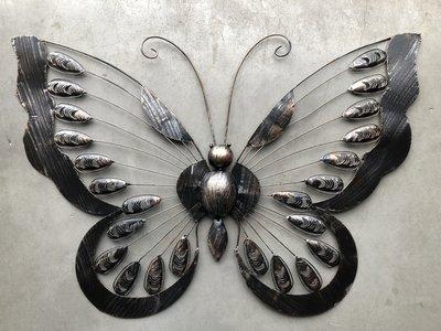 wanddeco vlinder metaal 'classic' 88 cm
