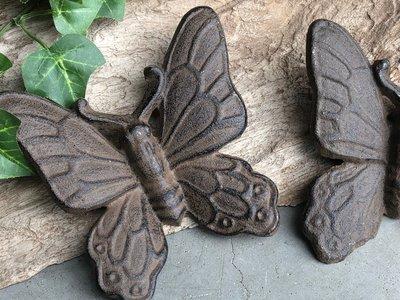 wanddeco vlindertje gietijzer 11x11cm