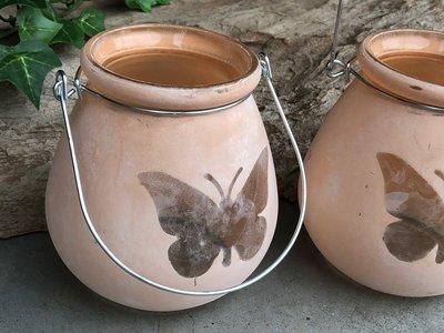 windlichtje glas vlinder