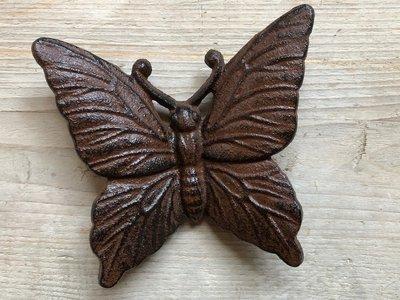 wanddeco vlindertje gietijzer 12x11cm