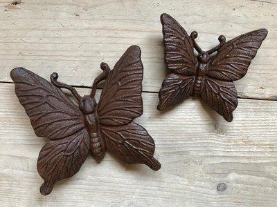 wanddeco set 2 vlindertjes gietijzer