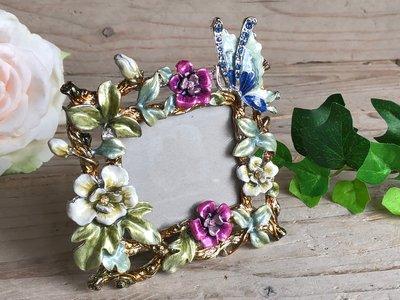 fotolijstje emaille met bloemen en vlinder