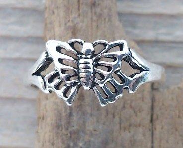 zilveren vlinder teenring