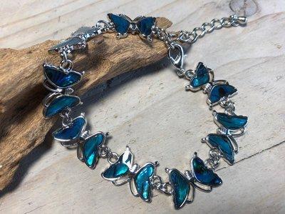 armband vlindertjes paua blauw