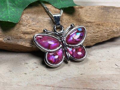 ketting hanger vlinder paua roze