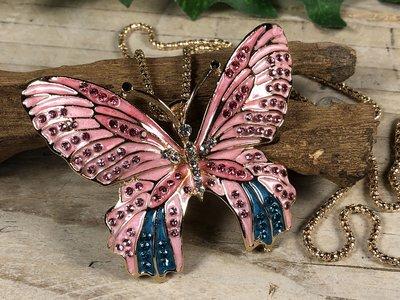 broche + ketting hanger vlinder roze-blauw