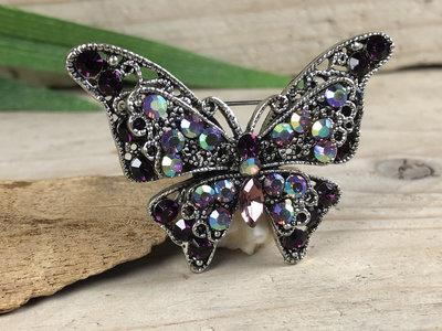 broche vlinder zilver-paars