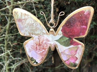 hangdecoratie vlinder metaal goud-roze 13x10cm