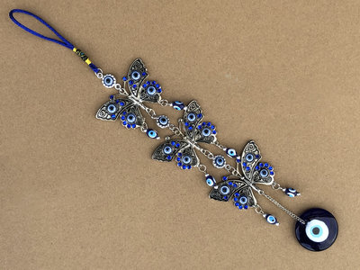 hangdecoratie 3 vlinders + blauwe oog (Nazar)