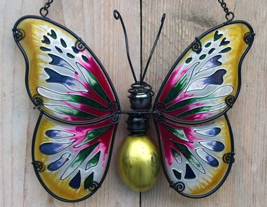 raamdecoratie vlinder glas-metaal geel