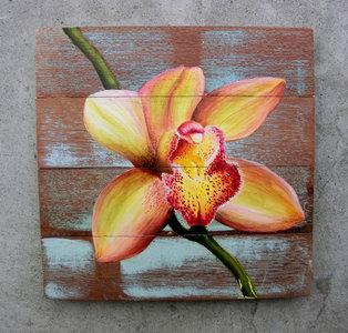 schilderijtje sloophout bloem 20x20cm