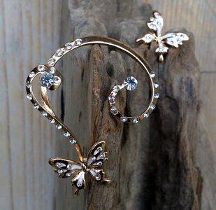 oorbel vlinder 'curl' zilver- of rosegoudkleur