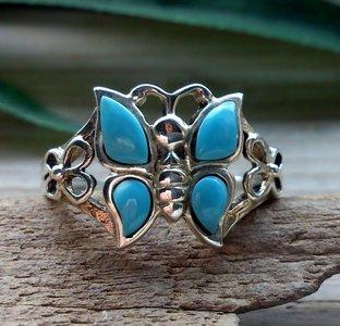 zilveren vlinder ring turkoois