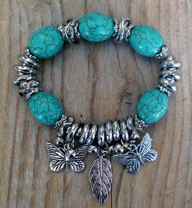 armband turquoise met vlinder bedels