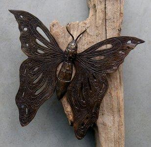 wanddeco vlinder brons 25x21cm