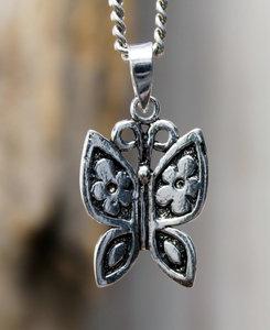 hanger vlinder zilver 18 x 13 mm