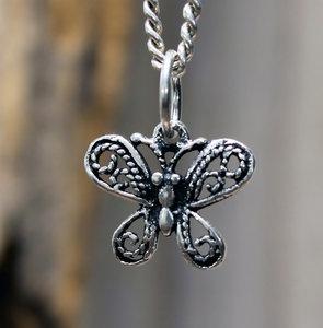 hanger vlinder zilver 11 x 14 mm