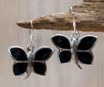 oorbellen vlinder zilver onyx zwart
