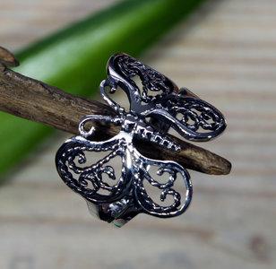 zilveren vlinder ring v.a.