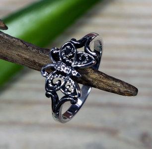 zilveren vlinder ring (maat 16¼ - 17¼ - 18¾)