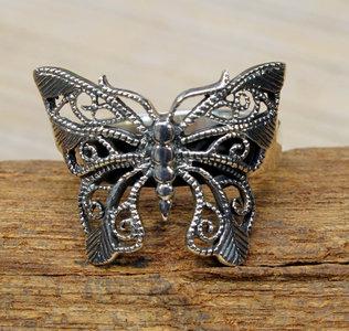 zilveren vlinder ring (maat 16½ - 17½ - 17¾ - 18¾) v.a.