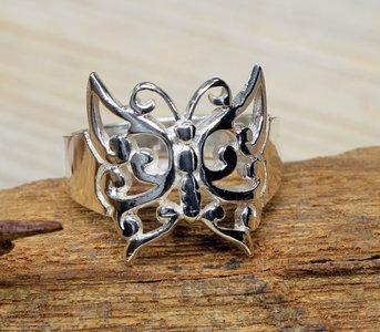 zilveren vlinder ring (maat 17 - 17¼ - 18 - 18¾) v.a.
