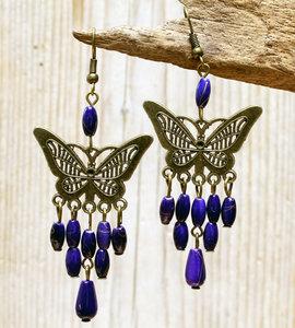 oorbellen vlinder donkerblauw