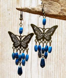 oorbellen vlinder lichtblauw