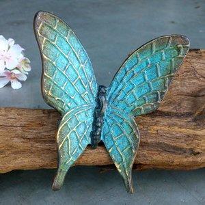 vlindertje brons turquoise 11 x 12 cm
