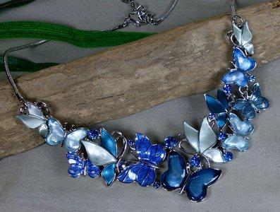 collier vlinders blauw