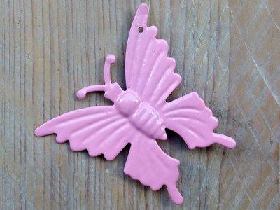 hangdecoratie vlindertjes roze per 6 stuks