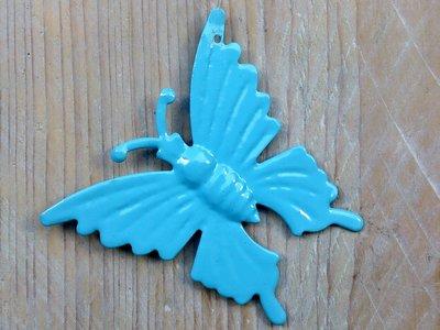 hangdecoratie vlindertjes blauw per 6 stuks