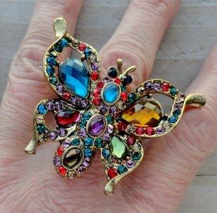 ring vlinder stretch goudkleur bont