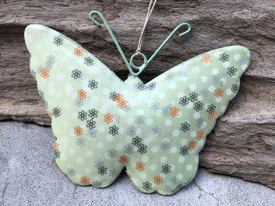 hangdecoratie vlinder metaal 14,5 x 10 cm