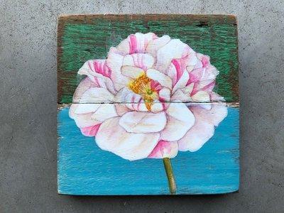 schilderijtje oud hout